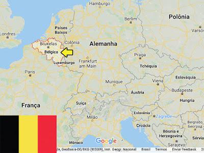 Países pequenos promovidos pelo futebol - Localização da Bélgica no mapa.