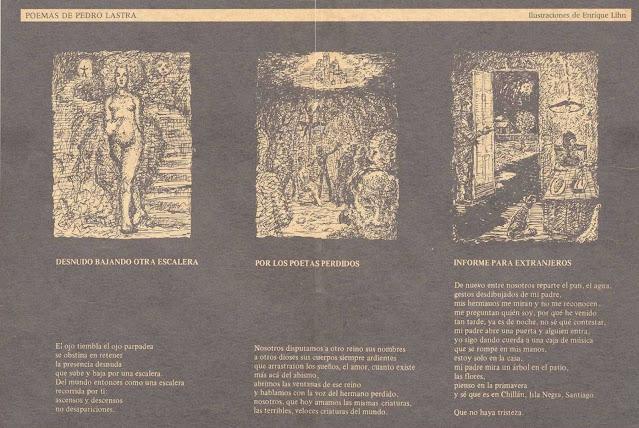Poemas de Pedro Lastra - Ilustrados por Enrique Lihn - Revista La Castaña (1986)