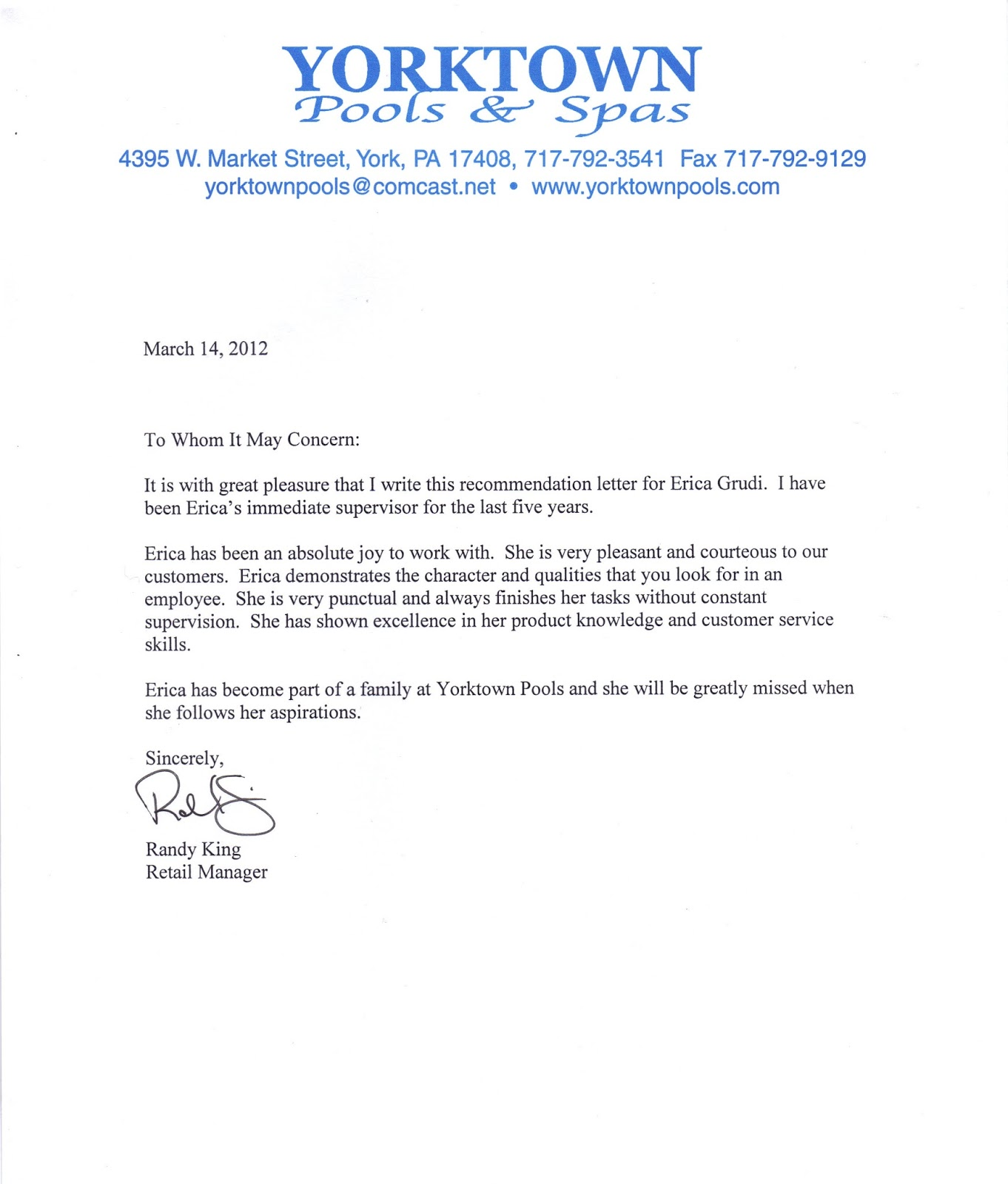 Letter of recommendation sample 3