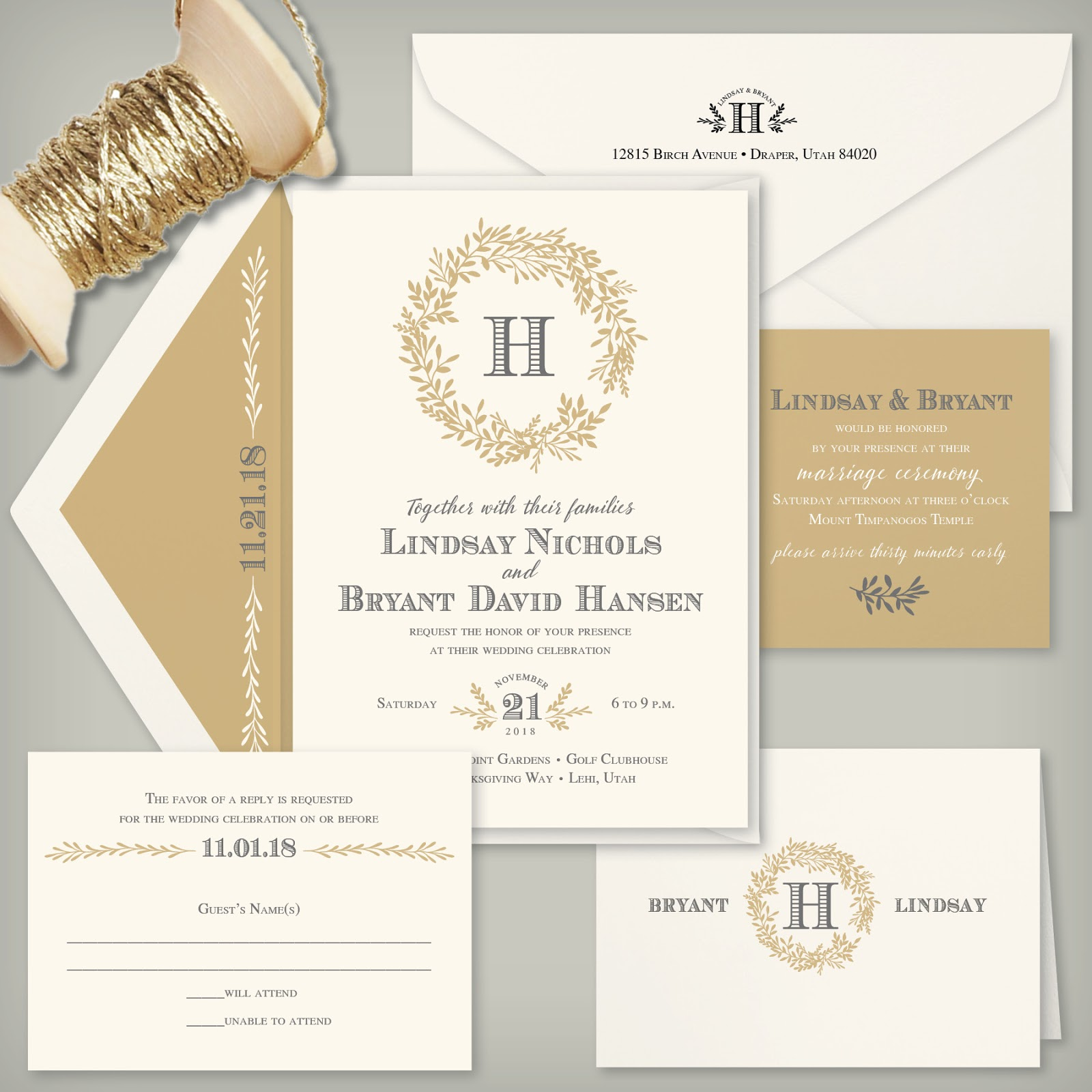 Wedding invitation blog wreaths continue to be ever popular this wedding season were especially loving the intricate detail of the wreath shown on the lindsay invitation monicamarmolfo Images
