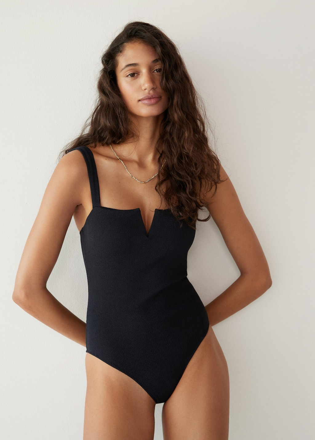 under $100 black ribbed one-piece swimsuit
