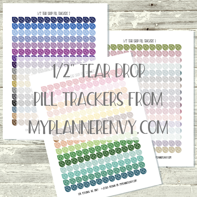 "Free Printable 1/2"" Tear Drop Pill Trackers from myplannerenvy.com"