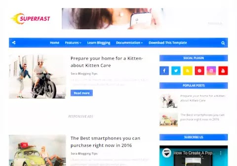 Superfast blogger template free download
