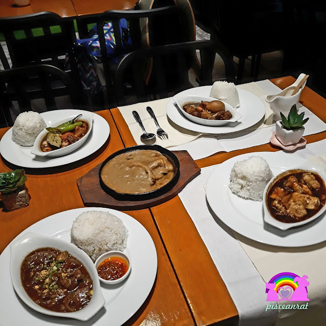 teaspoon cafe Beef pares, Fish fillet with tofu, Squid adobo, Sizzling porkchop, Chinese adobo.