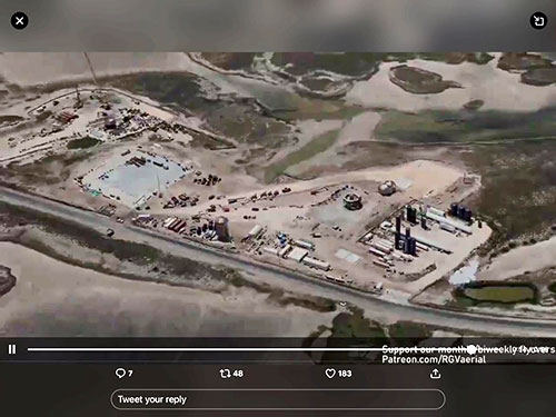 Aerial view of the SpaceX launch site at Boca Chica (Source: @RGVarielphotos)