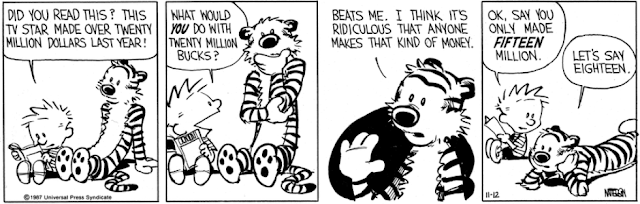 Is Hobbes saying eighteen million, or just $18.00? Either way, why is that the punchline?