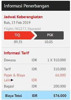 harga total dengan bagasi terdaftar 10 kilogram