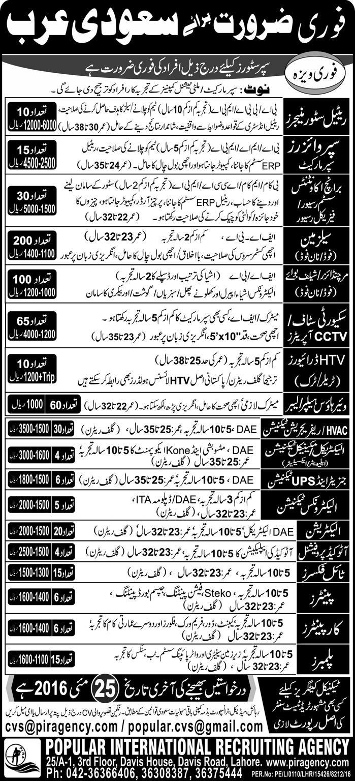 Retail Stores Jobs in Saudi Arabia Jobs for Pakistani 2016 in Super Stores