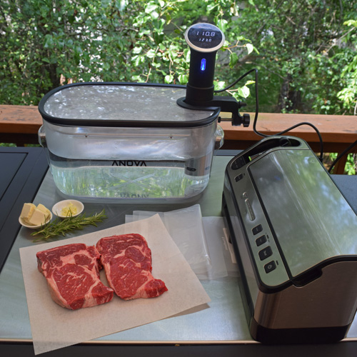 Using the Anova sous vide to prepare ribeye steaks.