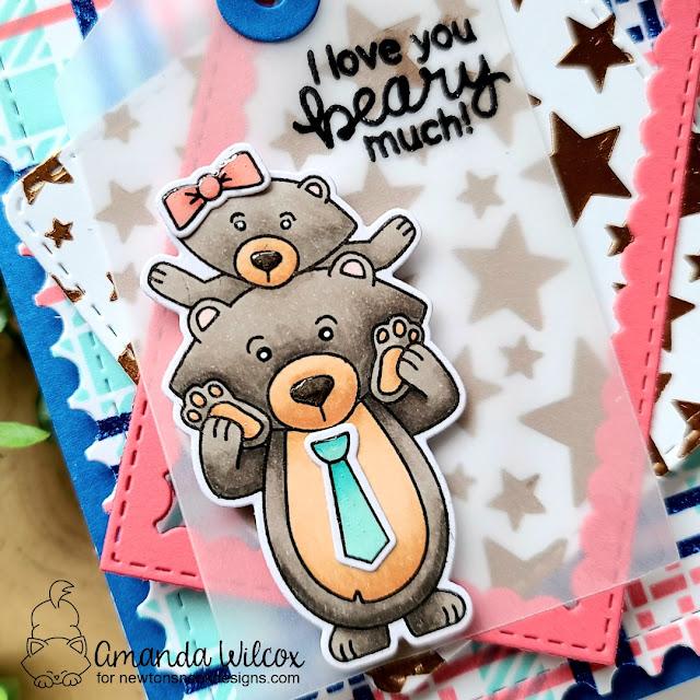 Love You Bear Card by Amanda Wilcox   Papa Bear Stamp Set, Fancy Edges Tags Die Set, Framework Die Set, Plaid Stencil Set and Cascading Stars Stencil by Newton's Nook Designs #newtonsnook