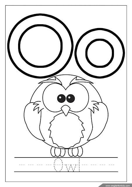 Printable English alphabet coloring page - letter o coloring