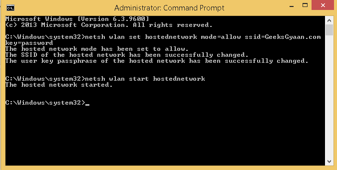 command prompt - start hosted network
