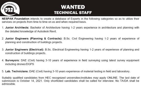 NESPAK Foundation Jobs 2021 Latest Recruitment – Apply Online