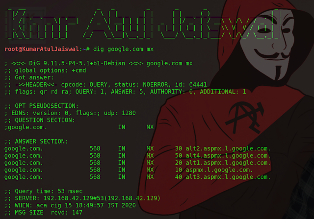 Dig command in Linux for querying Domain Name System (hackingtruth.in) (kumaratuljaiswal.in)
