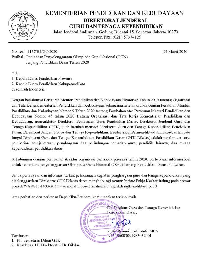 Surat Penghentian / Peniadaan Kegiatan OGN Jenjang SD dan SMP Tahun 2020