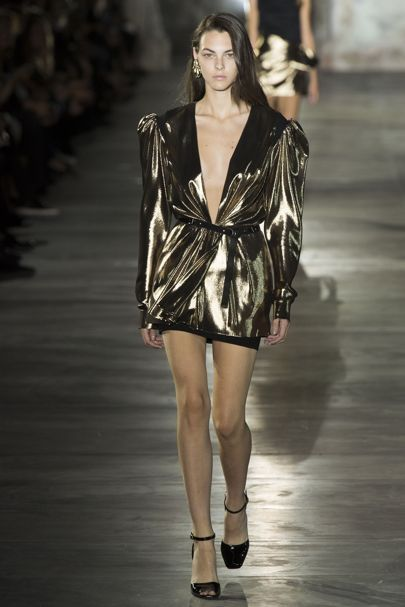 Saint Laurent metallic mini dress ss17
