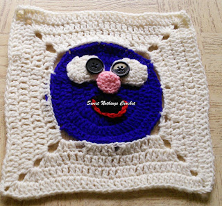 free crochet pattern, free crochet motif pattern, free crochet Sesame street character pattern, free crochet Grover of Sesame street pattern, Oswal Cashmilon, Pradhan stores, Project Chemo Crochet, crochet donation ideas, cancer donation ideas,
