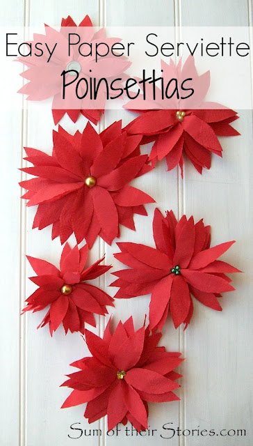 poinsettias made from paper serviettes
