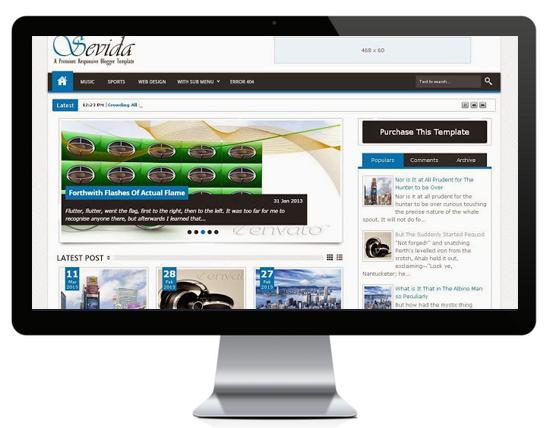 Sevida Stylish Premium Blogger Template Designed For Gaming Websites/Blogs.