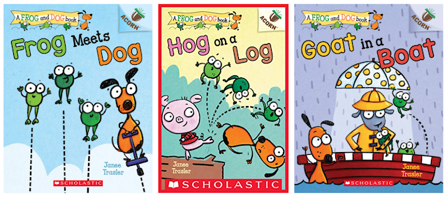 The book cover for Frog Meets Dog shows 3 frogs jumping and a dog on a pogo stick,  Hog on a Log shows a pig kicking 3 frogs and a dog off a log, and Goat in a Boat shows 3 frogs and a goat in a rainboat and an umbrella hat in a boat and a dog in the water while it's raining.