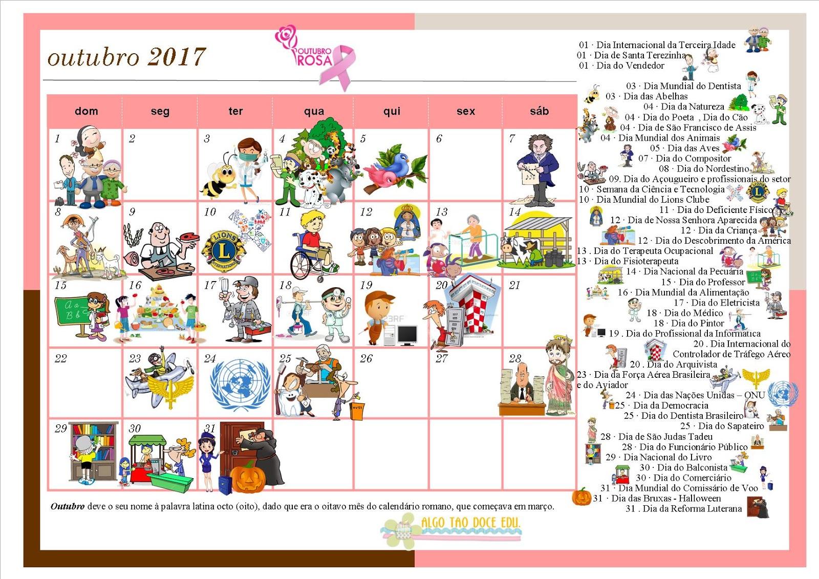 Top ♥Algo Tão Doce Educação♥: Calendário Datas Comemorativas Mês de  AI71