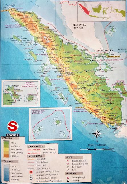 Gambar Peta Atlas Pulau Sumatera Lengkap Ikon dan Artinya