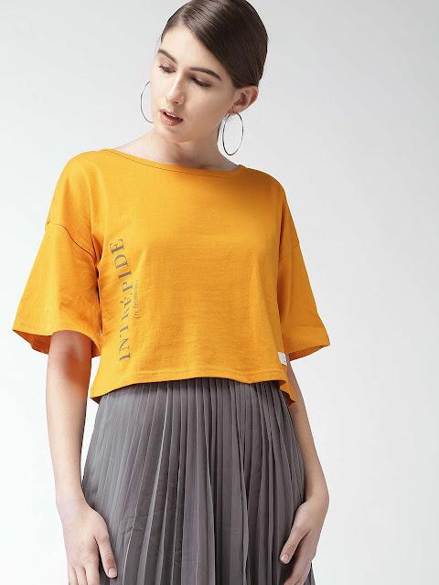 Women Printed Yellow Tee