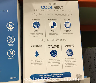 Costco 2865103 - HoMedics Cool Mist Ultrasonic Humidifier: great for any bedroom