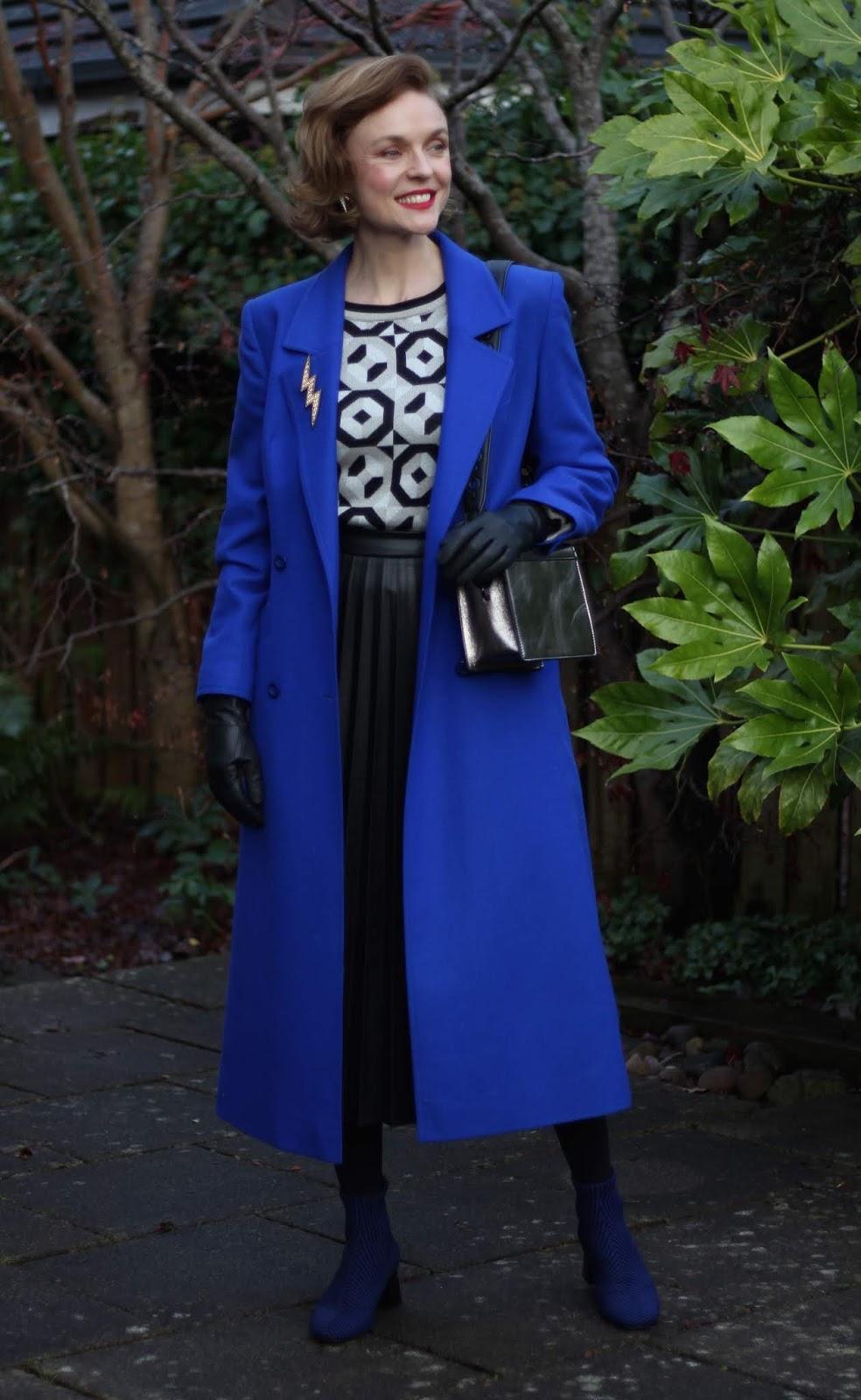 Cobalt Blue Coat, Black Leather Pleated Skirt | Fake Fabulous