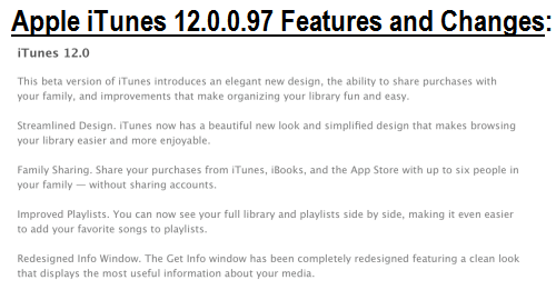Apple iTunes 12.0.0.97 Features Changelog