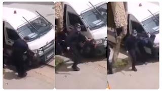 بالفيديو الاعتداء على شاب بالعنف شديد و ضربه بالمتراك على راسه من طرف اعوان الامن