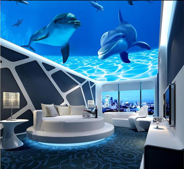 Fish and aquarium 3d false ceiling designs