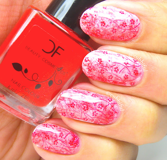 Red Saran Wrap Stamping Nails