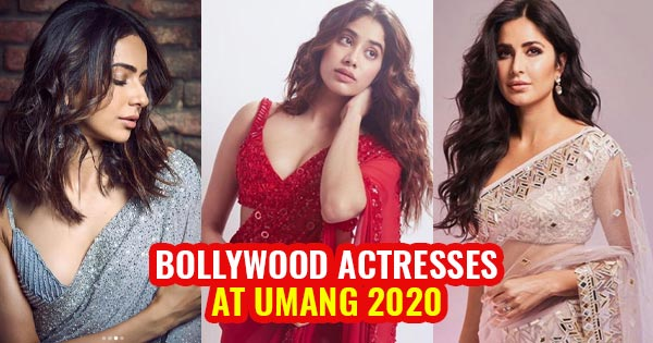 bollywood actress in saree at umang 2020 janhvi katrina rakul kriti tara ananya sophie