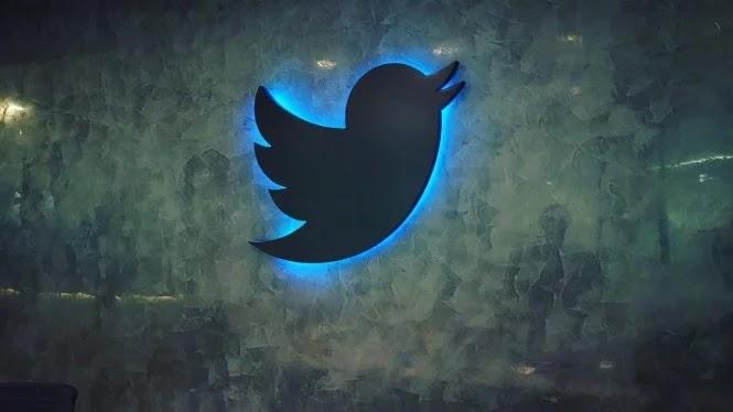 Twitter logo in the London office