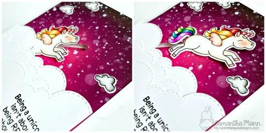 Being a Unicorn Slider Card by Samantha Mann   Believe in Unicorns Stamp Set and Sky Borders Die Set by Newton's Nook Designs #newtonsnook #handmade