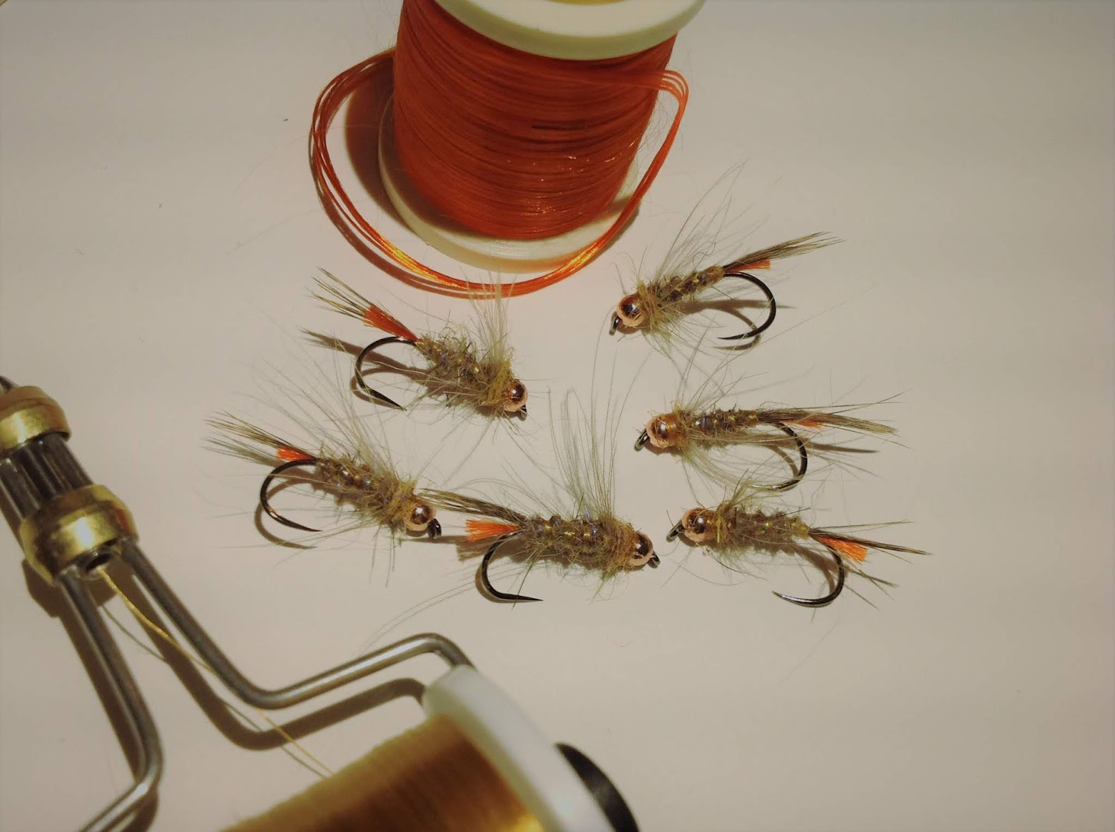 6 White Head Copper Squirrel nymphs in size #16 Great for  Euro nymphing.