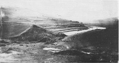 The damaged dam wall which caused the great flood of Sheffield in 1864