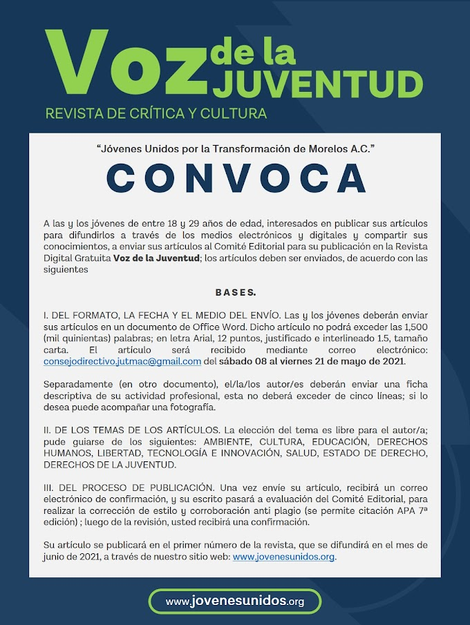 Convocatoria: Revista Voz de la Juventud