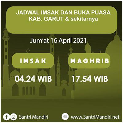 Jadwal Imsak, Buka Puasa, Sahur dan Waktu Shalat untuk Garut dsk, Hari Jumat 16 April 2021