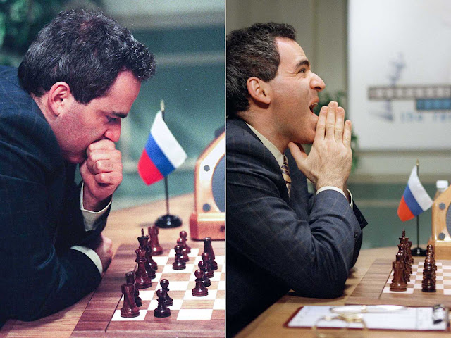 Kasparov struggling against Deep Blue.