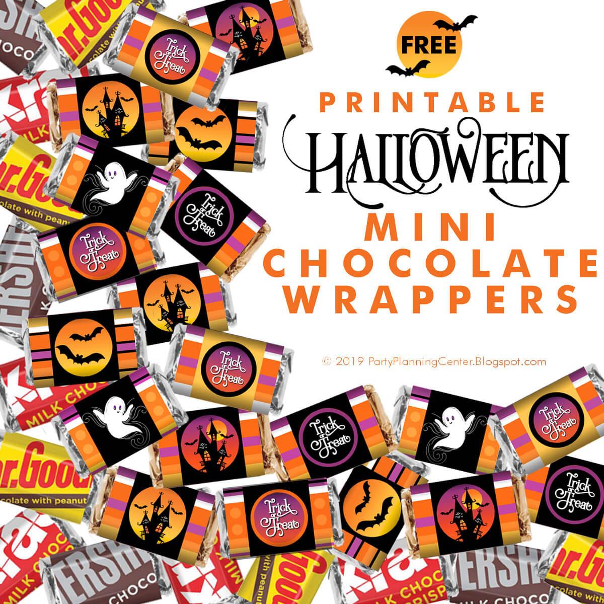 FREE Printable Halloween Mini Hershey Chocolate Bar Wrappers #hersheywrappers #hersheyprintables #minihershey