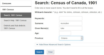 Screen capture of the Library and Archives Canada Census of Canada, 1901 search page searching for Luke McMullen in Ontario.