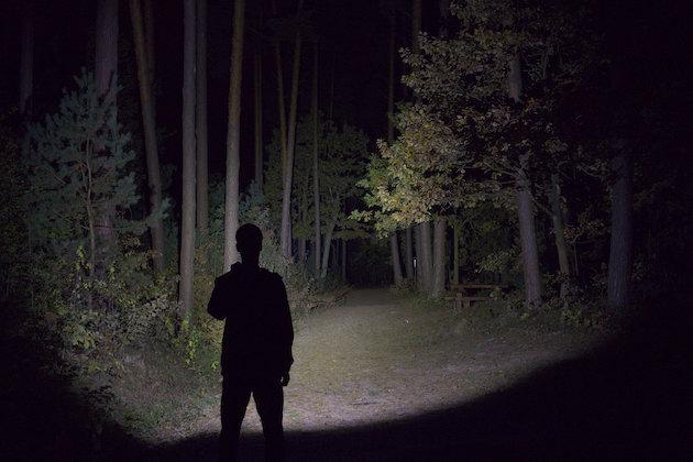 Latarka Olight M2R oświetlająca ścieżkę w lesie