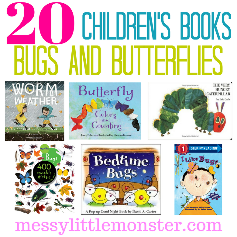 20 bug and butterfly books for kids. A book list for toddlers, preschoolers and school aged children that love insects.