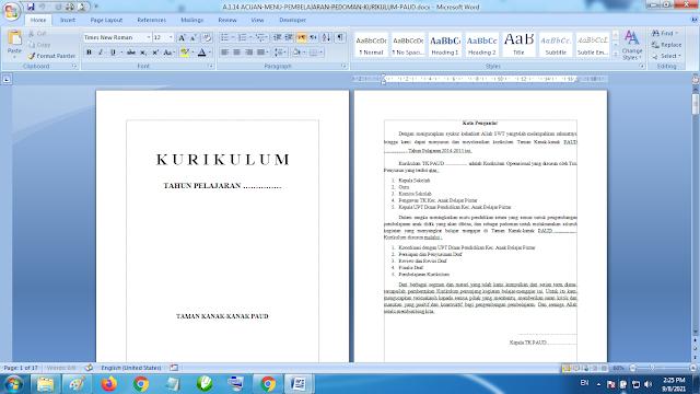 Download Buku Acuan Menu Pembelajaran Pedoman Kurikulum Paud TK KB RA
