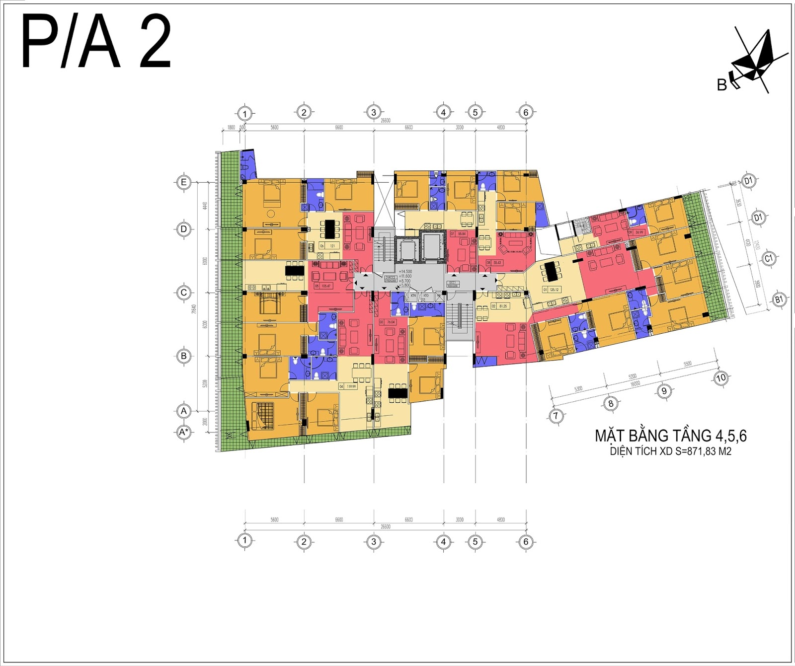 Mặt bằng điển hình tầng 4,5,6 dự án Núi Trúc
