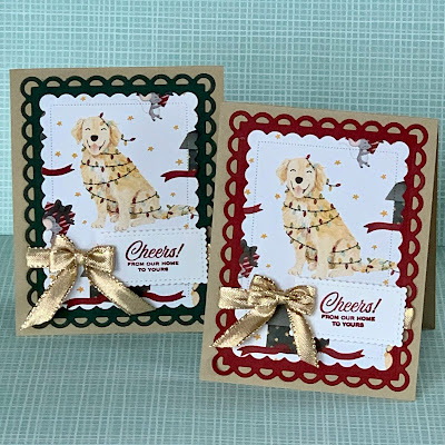Two dog-themed Christmas Cards using Stampin' Up! Sweet Stockings Designer Series Paper