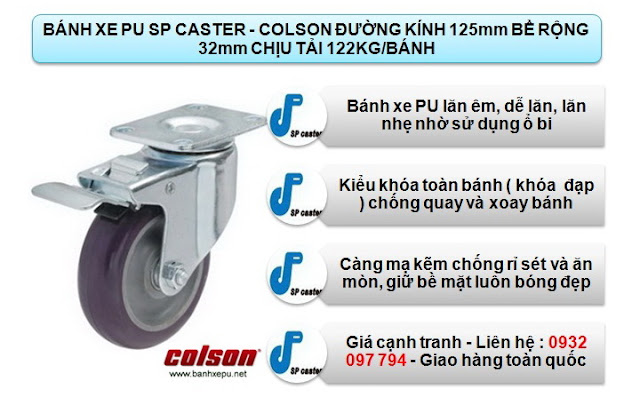Bánh xe nhựa PU phi 125 chịu lực 122kg | S2-5256-95P-B4W www.banhxepu.net
