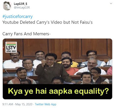 carry minati youtube vs tiktok video removed by youtube